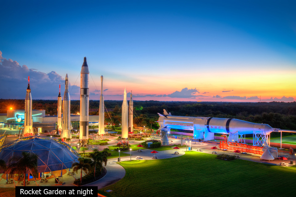 rocket garden at night