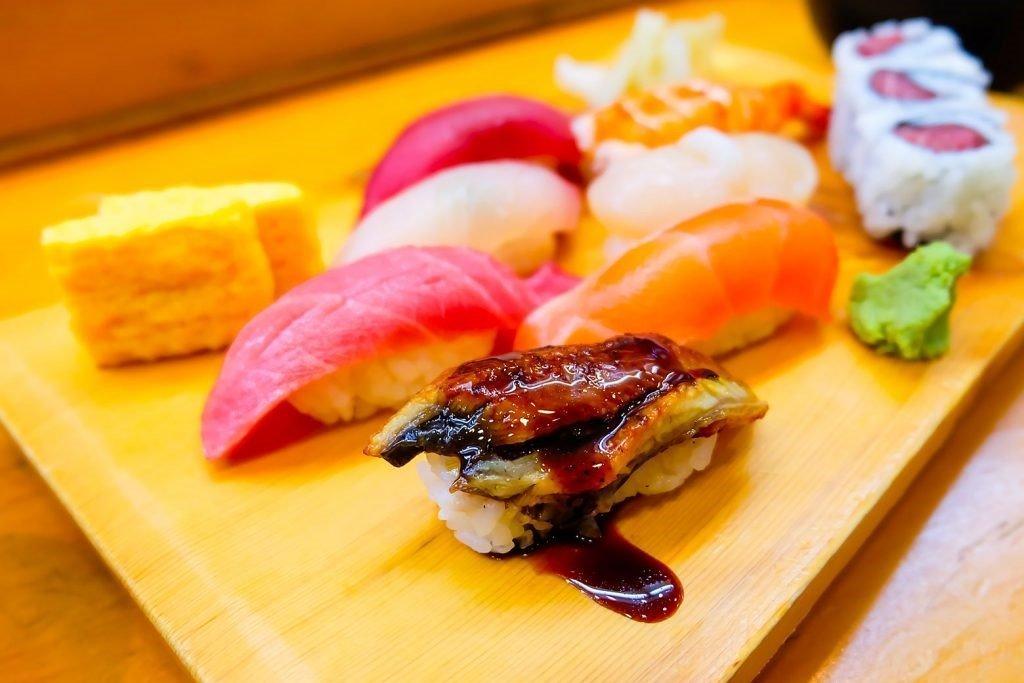 Sushi platter at a restaurant in Tokyo